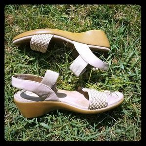 Shoes - Cream wedge sandals.